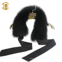 Черный Bowknot Real Fox Fur Съемный шарф Fox Fur Collar Trim