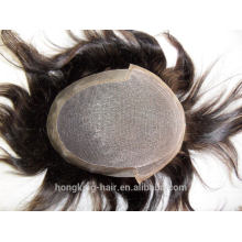 swiss lace with PU around toupee men toupee brown color mixed grey hair