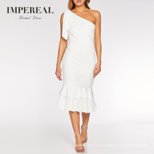 Women White Party Fashion Plain Designs Cotton Cocktail Dress Mid Long