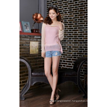 Metallic Chain Contrast Color Sweater for Women