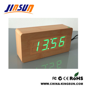 Middle Size Usb Wooden Led Alarm Clock