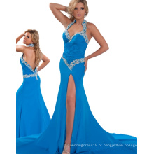 Made in China Cheapantress Courants Halter Open Black Women Dresses Online para festa com Chiffon e Rhinestones RO11-02