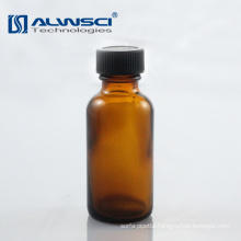 Wholesale moulded amber glass round bottle with PP cap
