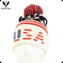 Acrylic Jacquard Star Pattern USA Embroidery Beanie Hat