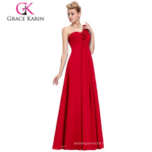 Grace Karin One Shoulder Floral Strap Design Red Long Chiffon Plus Size Evening Dress for Fat Ladies CL3402-1