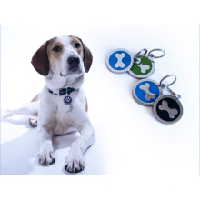 Nombre de identificación del colgante de la etiqueta metálica de la dirección perdida del animal doméstico Etiqueta de identificación en blanco de encargo del perro