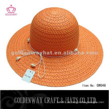 Mode orange Papier Braid Lady Hat GW048 Sommer Strand Hut