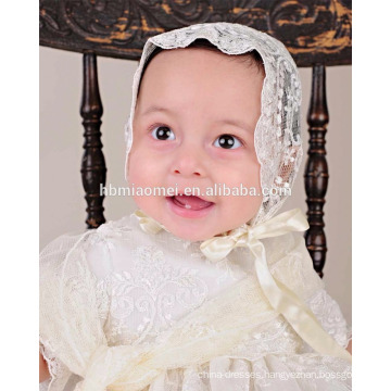 Latest light yellow western baby first birthday baptism clothes baby christening party wear dress with hat