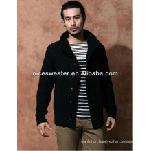 Heavy knitted ribs long sleeve wool cardigan sweaters for men