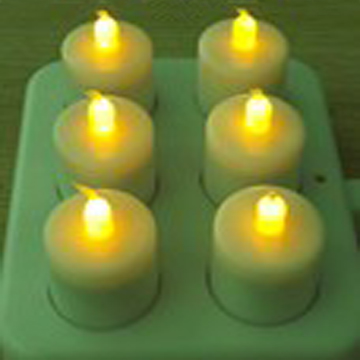 Remoted rechargeable flickering LED tealight candlle