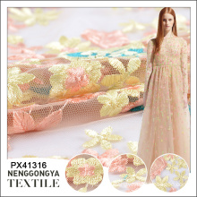Custom made beautiful decorative embroidery polyester 3d mesh fabric