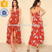 Surplice High Low Floral Print Dress Fabricação Atacado Moda Feminina Vestuário (TA3217D)