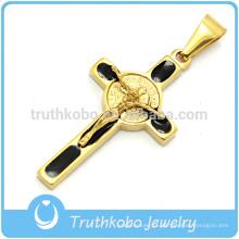 2016 Hot Sale Christian Cruz Pingentes de Aço Inoxidável 18 K Banhado A Ouro Crucifixo Mens Colares