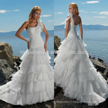 2014 Exquisite Long A-Line Tail Organza Wedding Dress One-Shoulder Pleated Bodice Ruffled Skirt Lace-up Beach Bridal Gown NB0898