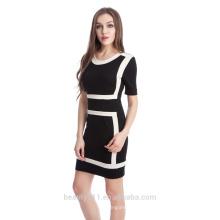 Falda de moda del lápiz Europa y Europa color puro empalme vestido de manga corta con falda nalga PS03