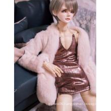 BJD Clothes Imitation Fur Coat Braces Skirt