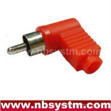 RCA plug ângulo direito vermelho