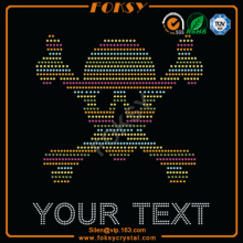 Colorful Skull Your Text iron on bling designs