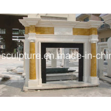 Hand Carved Cylindrical Marble Fireplace (SY-MF226)