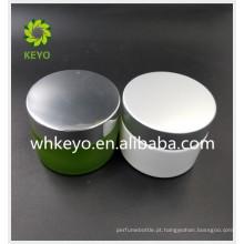 50g 100g frasco de creme para o rosto de vidro verde branco geada frasco de fundo de espuma grossa com tampa de alumínio