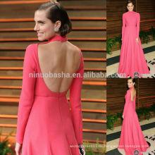 2014 Wassermelone Red High Neck Langarm Backless A-Line Abendkleid Sexy Allison Williams Red Carpet Celebrity Kleid NB0788