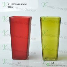 Vente en gros de vases en verre rond pour décoration intérieure Forme carrée