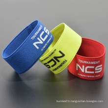 Polyester custom your logo elastic fabric tube wristband
