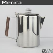 Pot à café en acier inoxydable avec poignée en bois