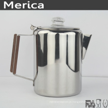 Pote de café de aço inoxidável com alça de madeira