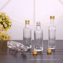 Small square glass bottle 50ml 60ml 100ml for oil wine storage with screw lid