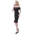 Kate Kasin Sexy Mujer fuera del hombro de las caderas-Wrapped Bodycon lápiz vestido KK000613-1