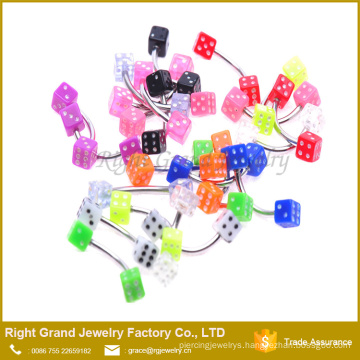 UV Acrylic Stainless Steel White Blue Pink Black Dice Eyebrow Rings