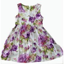 Flower Children Girl Dress for Kids Clothes (SQD-113-Purple)