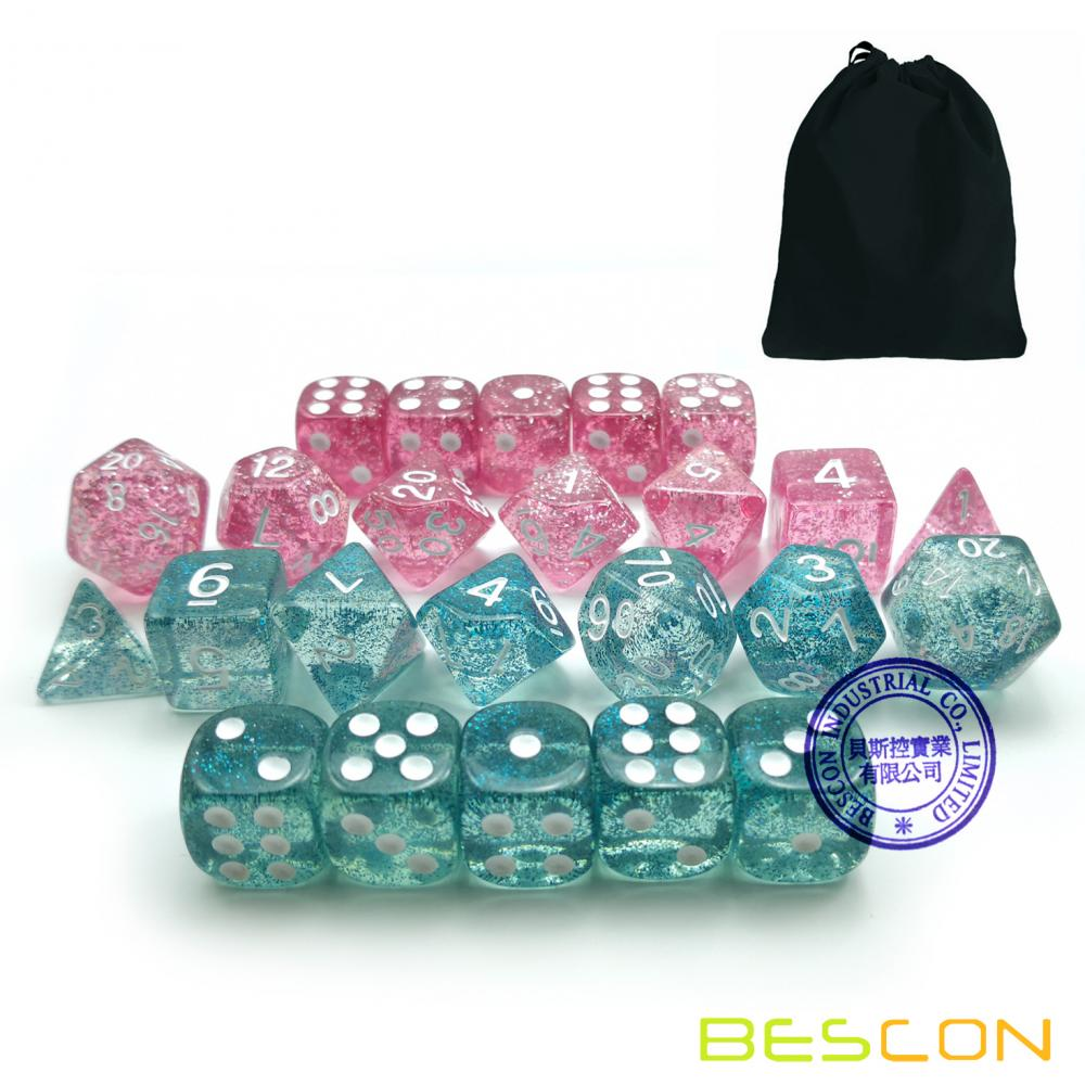 Bescon Ethereal Glitter RPG Role Playing Game Dice Set Pink and Teal 24pcs Set, 2x (7+5 extra D6s')