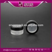 SRS amostra livre transparente plástico mini 5g recipiente de pó solto, frasco cosmético claro