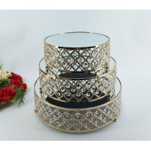 2020 Luxury Wedding Crystal Cake Stand 3 Layers Rhineston Large Galvanized Metal Round Silver Gold Serving Tray
