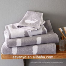 100% cotton Whale Jacquard towel sets Wholesale HTS-011 China supplier