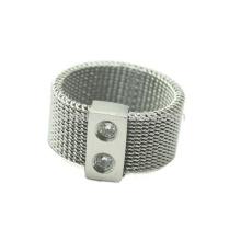 Made In China Frauen Mädchen Edelstahl Mesh Finger Ring mit Kristallen