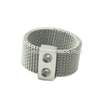 Made In China Women Girls Stainless Steel Mesh Finger Ring With Crystals