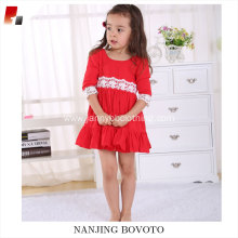 Kid girls red viscose lace backless dress with big ruffles