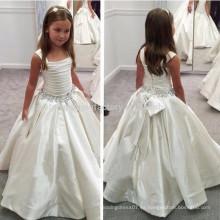 Vestido blanco de la muchacha de flor de las correas con la cintura moldeada primeros vestidos de la comunión para los vestidos del desfile de las muchachas MF894