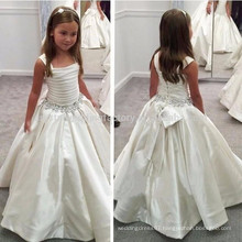 White Straps Flower Girl Dress With Beaded Waist First Communion Dresses For Girls Pageant Dresses MF894