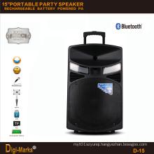 15′′ Mobile Party DJ Rechargeable Karaoke Trolley Bluetooth Active Speaker