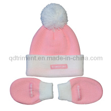 Infant POM Top Acrylic Knitted Glove and Beanie Set (TRK044)