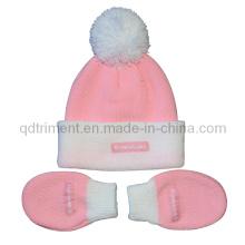 Младенческая POM верхняя акриловая связанная перчатка и набор шапочки (TRK044)