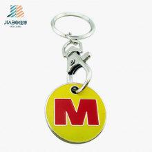 Spitzenverkaufs-Zink-Legierungs-Emaille-kundenspezifischer Buchstabe Logo Metal Trolley Coin Token mit Keychain