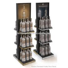 2-Полосная Вино Розничная Магазин Дисплей Приспособление Бутылки Шампанского Выставке Металлический Пол Дисплей Стеллажи