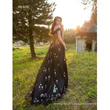 Black emboirdery A line vestido festa western frock designs vestido de noche hecho en china party wear dresses for ladies