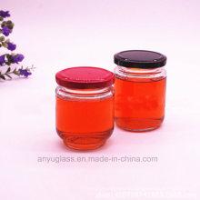 195ml 240ml Ronda jarras de vidrio de salmuera, botellas de vidrio para la miel, la comida, la miel de abeja