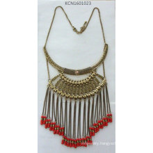 Retro Metal Tassel Necklace with Seedbead